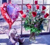 The Total Pakage Dozen roses bear and chocolates