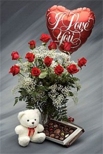 The True Romantic package  Dz. Roses, Chocolate,Balloon & Teddy Bear ♥ in Hesperia, CA | ACACIA'S COUNTRY FLORIST