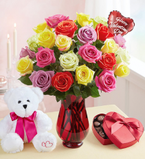 The Whole Package Colored Roses, Bear,Chocolates, and Balloon