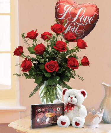 The Whole Package Red Roses Red Roses, Bear, Chocolates, and Balloon