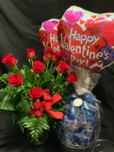 The Whole Shebang Roses, Chocolates, Balloons combo