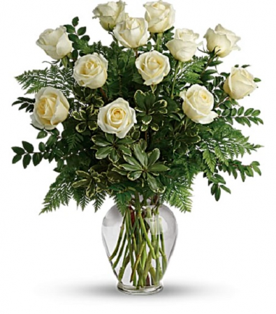 The Wonderful White Rose Bouquet PFD21V4 White. Available in Standard, Deluxe, Premium