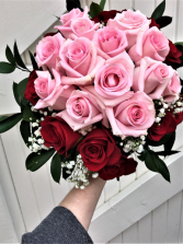 THERESA'S PINK AND RED ROSES 24 ROSES HAND TIED