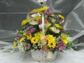 Think Happy Thoughts Basket of fresh flowers