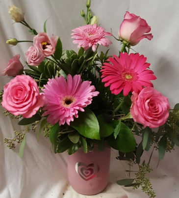 THINK PINK BOUQUET...Pink Mason Jar with silver heart and Pink Flowers that are in season. (Flowers types may vary)