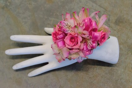 Pretty in pink corsage in davis ca strelitzia flower co pretty in pink corsage mightylinksfo