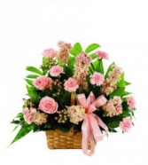 THINK PINK SYMPATHY Roses, carnations, snap dragons or stock
