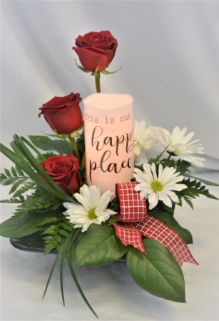 THIS IS OUR HAPPY PLACE FRESH FLOWER ARRANGEMENT/CANDLE
