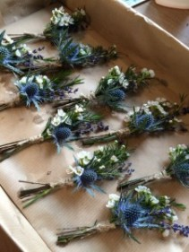 Thistle Boutonniere with twine or ribbon tie