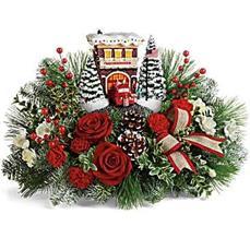 Thomas Kincade's Festive Fire Station Bouquet Centerpiece in Ballston Spa, NY | Briarwood Flower & Gift Shoppe