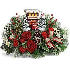 Thomas Kincade's Festive Fire Station Bouquet Centerpiece