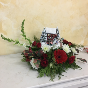 Thomas Kinkade Christmas Centerpiece  in Cushing, OK | BUSY BEE FLORAL