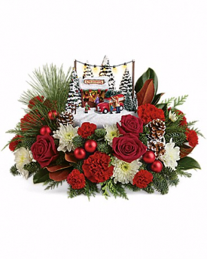 Thomas Kinkade Family Tree Christmas Flowers in Riverside, CA | Willow Branch Florist of Riverside