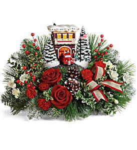 Thomas Kinkade Festive Fire Station arrangement
