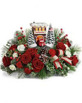 Thomas Kinkade Festive Fire Station Christmas Keepsake Arrangement