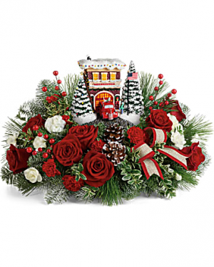 Thomas Kinkade Festive Fire Station  collectible centerpiece in Whiting, NJ | A Whiting Flower Shoppe