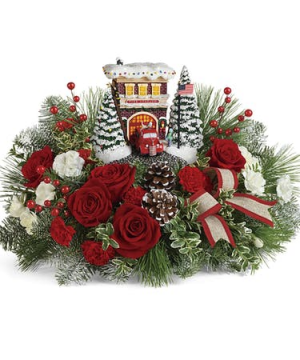 Thomas Kinkade Festive Firestation   in Bedford, NH | Dixieland Florist & Gift Shop Inc.