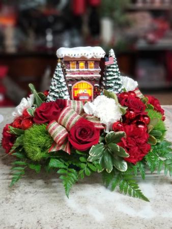 Thomas Kinkade Holiday 2019 Edition Festive Fire Station Bouquet
