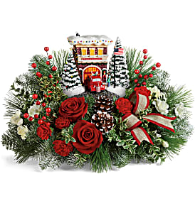 Thomas Kinkade's Festive Fire Station Bouquet in Springfield, IL | FLOWERS BY MARY LOU
