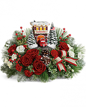 Thomas Kinkade's Festive Fire Station Bouquet in Wray, CO | LEIGH FLORAL & GIFT