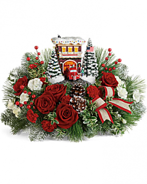 Thomas Kinkade's Festive Fire Station Bouquet in Ridgecrest, CA | THE FLOWER SHOPPE
