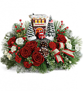 Thomas Kinkade's Festive Fire Station Bouquet Christmas Arrangement