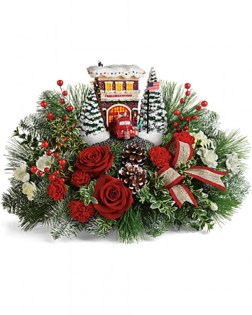 Thomas Kinkade's Festive Fire Station Bouquet Floral Arrangement