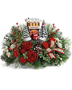 Thomas Kinkade's Festive Fire Station Bouquet Hand-Painted resin light up station in Granville, NY | The Florist at Mandy's Spring