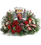 Thomas Kinkade's Festive Fire Station Bouquet  Keepsake T19X200A