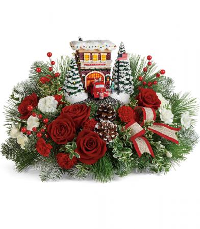 Thomas Kinkade's Festive Fire Station Bouquet Teleflora