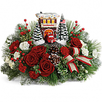 Thomas Kinkade's Festive Fire Station Collectors centerpiece