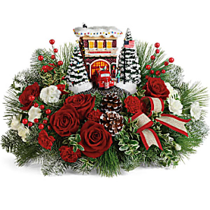 Thomas Kinkade's Festive Fire Station Collectors centerpiece  in Chesterfield, MO | ZENGEL FLOWERS AND GIFTS