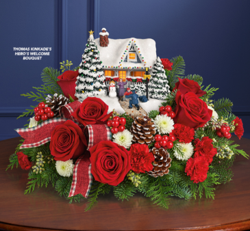 Thomas Kinkade's Hero's Welcome Bouquet Holiday Arrangement