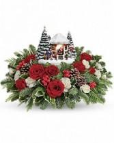 Thomas Kinkade's Jolly Santa Bouquet T16X200A Christmas Centerpiece