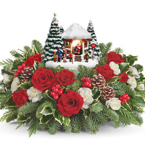 Thomas Kinkade's Jolly Santa Centerpiece in Croton On Hudson, NY | Cooke's Little Shoppe Of Flowers