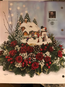 THOMAS KINKADE'S SNOMAN CREATION CHRISTMAS ARRANGEMENT