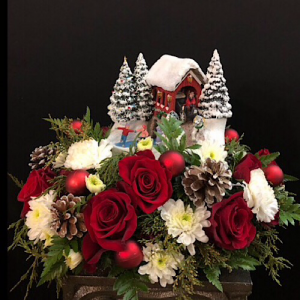 Thomas Kinkade's Snowfall Dreams Bouquet  Centerpiece  in Chesterfield, MO | ZENGEL FLOWERS AND GIFTS