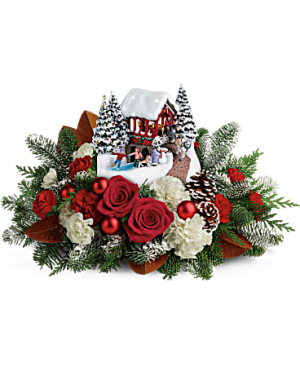 Thomas Kinkade's Snowfall Dreams Bouquet centerpiece in Newton, MA | BUSY BEE FLORIST