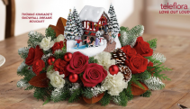 Thomas Kinkade's Snowfall Dreams Bouquet Christmas Keepsake Arrangement