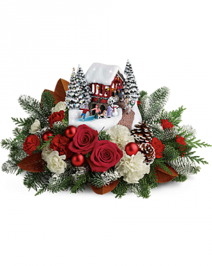 Thomas Kinkade's™ Snowfall Dreams Bouquet Holiday Centepiece in Las Vegas, NV | All In Bloom