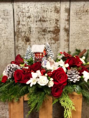 2018 Thomas Kinkade's Snowfall Dreams Bouquet Keepsake Centerpiece
