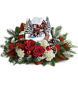 Thomas Kinkade's Snowfall Dreams Bouquet Teleflora in Springfield, IL | FLOWERS BY MARY LOU INC