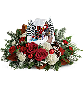 Thomas Kinkade's Snowfall Dreams Christmas Arrangement in Winnipeg, MB | Ann's Flowers & Gifts