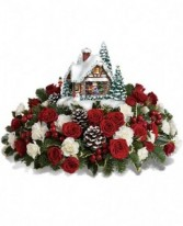 "Thomas Kinkade's "" A kiss for Santa"" Thomas Kinkade Keepsake Holiday Arrangement"
