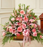 Thoughts and Prayers Fireside Basket With Pink Lilies and Roses