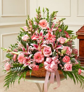 Thoughts and Prayers Fireside Basket With Pink Lilies and Roses in Gainesville, FL   PRANGE'S FLORIST