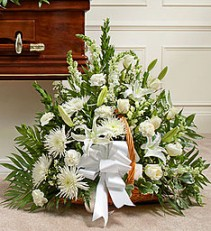 Thoughts and Prayers in White Fireside Basket