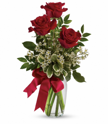 Thoughts of You Bouquet with Red Roses All-Around Floral Arrangement