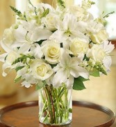 Thoughts & Prayers Cylinder Vase of White Flowers