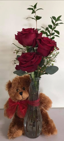 Three Bud Vase With Teddy Bear Valentine's Day
